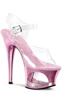 7 Inch Heel Platform Sandals with Rhinestones - Clear/Baby Pink Chrome
