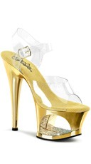 7 Inch Heel Platform Sandals with Rhinestones - Clear/Gold Chrome