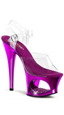 7 Inch Heel Platform Sandals with Rhinestones - Clear/Purple Chrome
