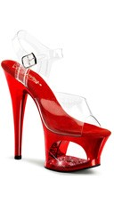 7 Inch Heel Platform Sandals with Rhinestones - Clear/Red Chrome