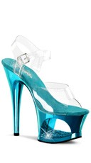 7 Inch Heel Platform Sandals with Rhinestones - Clear/Turquoise Chrome