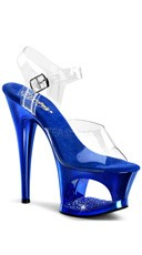 7 Inch Heel Platform Sandals with Rhinestones - Clear/Royal Blue Chrome