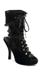 4 1/2 Inch Heel, 3/4 Inch Pf Pirate Lace Up Ankle Bootie - Black Velvet-pat
