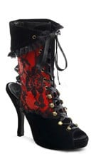 4 1/2 Inch Heel, 3/4 Inch Pf Pirate Lace Up Ankle Bootie - Black Velvet-red Pat