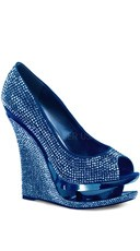 Rhinestone-covered Peep Toe Pump - Blue Satin