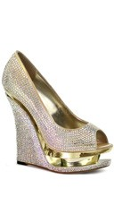 Rhinestone-covered Peep Toe Pump - Gold Satin