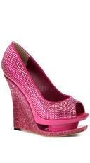 Rhinestone-covered Peep Toe Pump - Hot Pink Satin