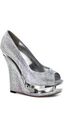 Rhinestone-covered Peep Toe Pump - Silver Satin