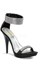 4 3/4 Inch Rhinestone Ankle Strap Stiletto Shoe - Black Satin