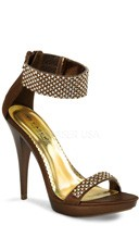 4 3/4 Inch Rhinestone Ankle Strap Stiletto Shoe - Bronze Satin