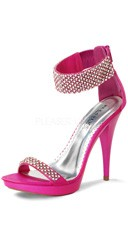 4 3/4 Inch Rhinestone Ankle Strap Stiletto Shoe - Fuchsia Satin