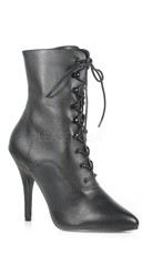 Lace Up Ankle Boot - Black Faux Leather