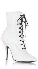 Lace Up Ankle Boot - White Patent