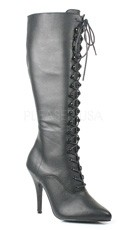 5 Inch Lace Up Knee Boot, Side Zip - Black Leather