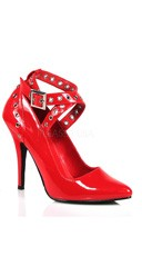 5 Inch Crisscross Pump With Eyelet-hole Punch - Red Patent