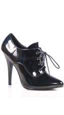 5 Inch Oxford Lace Up Pump - Black Patent
