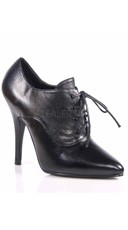 5 Inch Oxford Lace Up Pump - Black Leather