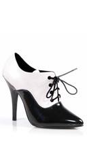 5 Inch Oxford Lace Up Pump - Black-white Pat