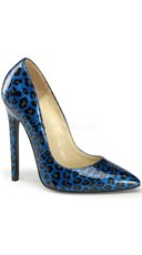 5 Inch Stiletto Heel Pointy Toe Pump - Blue Pearlized Pat