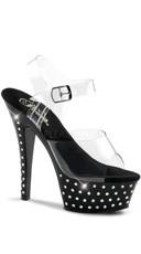 6 Inch Heel, 1 3/4 Inch Rhinestone Studded Platform Ankle Strap Sandal - Clear/Black