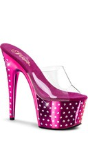 7 Inch Rhinestone Studded Platform Slide - Clear/Hot Pink Chrome