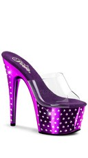 7 Inch Rhinestone Studded Platform Slide - Clear/Purple Chrome