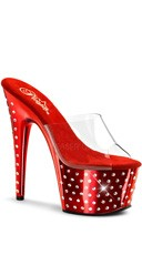 7 Inch Rhinestone Studded Platform Slide - Clear/Red Chrome