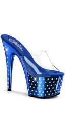 7 Inch Rhinestone Studded Platform Slide - Clear/Royal Blue Chrome