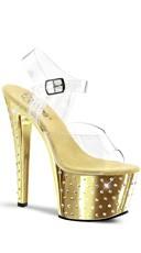 7 Inch Stardust Rhinestone Sandal - Clear/Gold Chrome