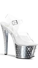 7 Inch Stardust Rhinestone Sandal - Clear/Silver Chrome