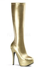 5 3/4 Inch Heel, 1 3/4 Inch Hidden Pf Stretch Knee Boot, Side Zip - Gold Str. Pu