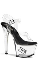 7 Inch Sexy Tips Sandal - Clear-Black/Clear