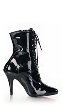 4 Inch Lace-Up Ankle Boot with Side Zip - Black Patent