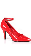 4 Inch Ankle Strap Pump - Red Patent