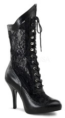 5 Inch Heel Victorian Boots - Black Pu-lace