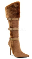 4 1/4 Inch Viking Knee High Boot - Tan Microfiber-pu