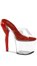 7 1/2 Inch Heel With Sculpted Leg Heels - Clear-Red/Clear