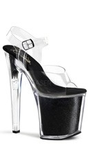 8 Inch Stiletto Ankle Strap Glitter-filled Platform Sandal - Clear/Black Glitter