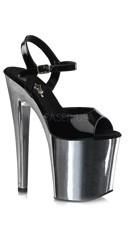 8 Inch Ankle Strap Sandal - Black/Silver Chrome