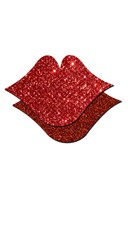 Kiss Me Hard Glitter Pasties - Red Glitter