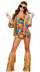 Plus Size Hippie Hottie Costume - Multicolor