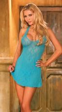 Plus Size Lace Halter Top Mini Dress - Teal