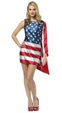 USA Flag Dress Costume - Red/White/Blue