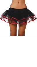 Flirty Double Layer Petticoat - Black/Red