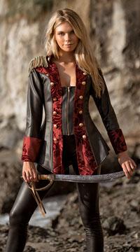 Adventurous Pirate Babe Costume - Black/Burgundy