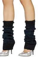 Glitter Half Calf Warmers - Black/Blue