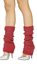 Glitter Half Calf Warmers - Red/Silver