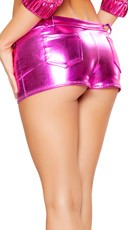 Flashy Hot Pant Metallic Shorts - Hot Pink