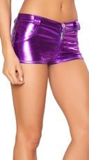 Flashy Hot Pant Metallic Shorts - Purple