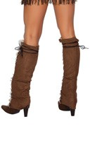 Fur and Suede Leg Warmers - Brown